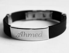 AHMED - Mens Silicone & Silver Name Plate Engraved Bracelet - Father's Day