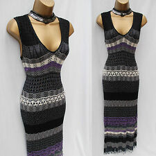 KAREN MILLEN Black Purple Grey Hand Crochet Beaded Wiggle Dress SZ 3 UK 10/12