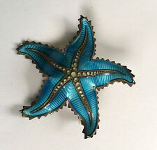 Gorgeous Ivar T Holth Norway Blue Enamel Sterling Star Fish Sea Star Pin Brooch