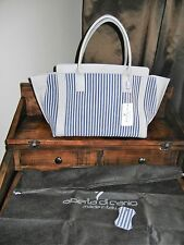 NWT ALBERTA DI CANIO BLUE GREY PINSTRIPES CELINE LEATHER SUEDE ITALY HANDBAG