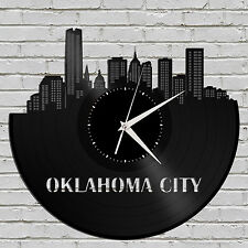 Oklahoma City Skyline Vinyl Wall Clock, Modern Clock, Unique Large Wall Clock
