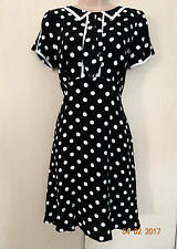 BLACK & WHITE SPOTTED ASOS TEA DRESS SIZE 12 NEW WITH TAGS