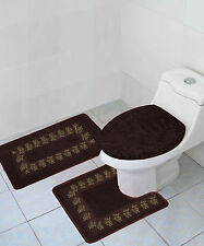 3PC BROWN COFFEE EMBROIDERY BANDED BATHROOM SET BATH MAT COUNTOUR LID COVER #5
