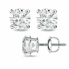 1.00CT F/SI1 Round Cut Genuine Diamonds 14K Solid White Gold Studs Earrings