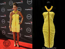 NEW VERSACE BEADED COCKTAIL STRETCH YELLOW RUCHED DRESS 44 - 8
