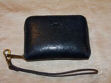 Will Leather Goods Black Pebbled Leather Zip-around Wallet Wristlet Unisex NICE