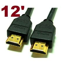 12' 1.4 HDMI 24K GOLD CABLE HDTV 1080p BLUE-RAY + ETHERNET 3D HD TV XBOX PS3