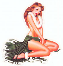SEXY VINTAGE 50's Hula FIFTIES PINUP GIRL STICKER/DECAL Art by Carlos Cartagena