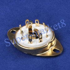 2pc 8pin Octal Gold Plate Ceramic Loctal Tube Socket 5B254 1LA6 B8G Base Chassis