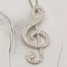 Charm Women Swarovski Crystal Gold/Silver Music Note Rhythm Pendant Necklace CHA