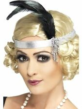 LADIES 1920S Silver SATIN FLAPPER CHARLESTON FEATHER HEADBAND ACCESSORY