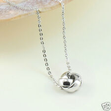 Adorable Silver Toned Love Knot Pendant Necklace, Gift Box
