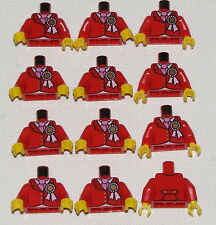 LEGO LOT OF 12 NEW RED MINIFIGURE TORSOS WITH RIBBONS BOW PIECES PARTS
