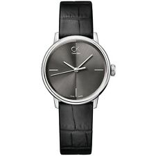 CK Mujer Calvin Klein Reloj Delgado Woman Uhr Accent K2Y2Y1C3 Cuero Negro Black