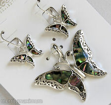 Butterfly Necklace Pendant & Earring Set Silver Tone Lace Abalone Shell NWT