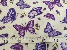 Northcott Lavender Market Fabric. Butterfly  flowers BT Half Yard
