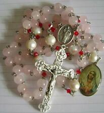 10mm BIG REAL Pearl & Pink CRYSTAL Quartz Beads Rosary CROSS crucifix necklace