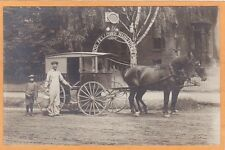 Real Photo Postcard RPPC - Man Boy Horsedrawn Milk Wagon IOOF Odd Fellows Bldg