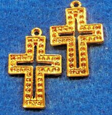 50Pcs. WHOLESALE Tibetan Gold-Plated Ornate CROSS Charms Pendants Findings Q0613