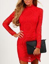 Vestido de encaje Boutique Celebridad Rojo Mini de ganchillo BNWT 8 RRP £ 37