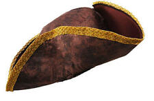 Brown & Gold Pirate Hat Captain Jack Sparrow Fancy Dress