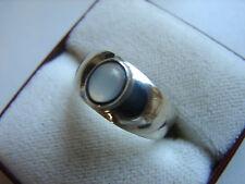 hübscher, alter Bandring mit Mondstein, 925iger Silber, Größe 50