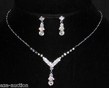 Marvelous Bridal Silver Clear Rhinestone Sample Necklace, Earrings Set