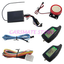 Two 2 Way Motorcycle Motorbike Alarm With Remote Engine Start & 2 LCD Key Fobs