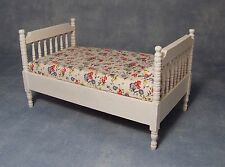DOLLS HOUSE 1/12th SCALE WHITE SINGLE BED WITH FLORAL MATTRESS