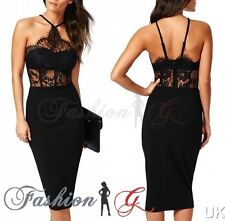 Ladies Womens Midi Dress Bodycon Black Party Pencil Celeb Evening Size 12 14 M,