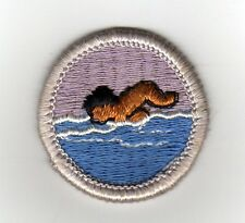 Swimming Merit Badge Type G, Cloth Back  (1969-71), Mint!