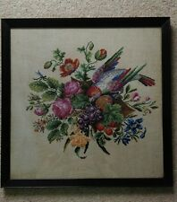 VERY FINE ANTIQUE FRAMED NEEDLEWORK TAPESTRY EMBROIDERY PARROT BIRD FLOWERS
