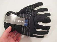 New Girls IGLOOS Ski Gloves WATERPROOF 3M THINSULATE ISOLANT~Black~SZ S/M
