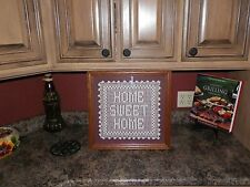 "BEAUTIFUL OAK FRAMED  HOME SWEET HOME CROCHET PICTURE 17.25 X 16.75"" WEDDING"