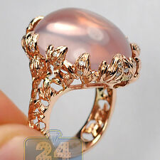 14K Rose Gold 26.39 ct Cabochon Quartz Diamond Womens Vintage Gemstone Ring