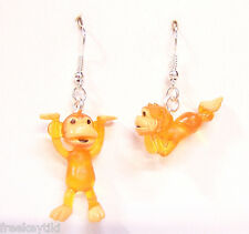 "NEW ORANGE Mini Funny Silly Goofy Cute Monkeys Apes Toys 1"" Dangle Earrings"