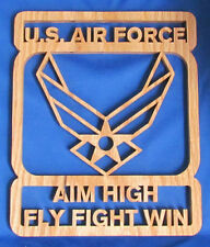 U.S. Air Force - Aim High : Fly Fight Win - Hand Cut Oak Plaque
