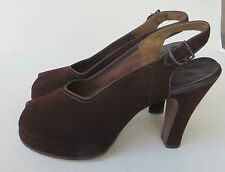 Vtg 1940s Brown Suede Peep Toe Platform High Heel Shoes 5 Look Unworn