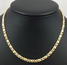 14K YELLOW GOLD XOXO LOVE KISSES NECKLACE 16.25""