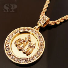 "HIP HOP GOLD ICED OUT ALLAH MUSLIM CZ ROUND PENDANT & 24"" ROPE CHAIN NECKLACE"