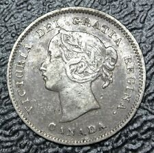 OLD CANADIAN COIN 1900 Oval 00 - 5 CENTS - .925 SILVER - Victoria - Nice
