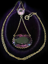 Antique, Victorian 9ct Amethyst double drop lavalier, lavaliere necklace, C1880
