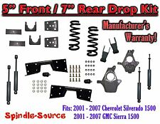 "2001 - 07 Chevy Silverado GMC Sierra V8 5"" / 7 -8"" Lower Drop + SHOCKS +C-NOTCH"
