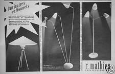 PUBLICITÉ 1954 R.MATHIEU CRÉATEURS ÉDITEUR LUMINAIRES RATIONNELS - ADVERTISING