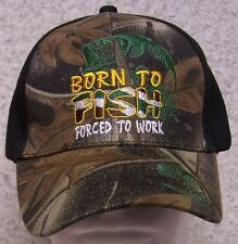 Embroidered Baseball Cap Sportsman Born to Fish NEW 1 hat size fits all cammie 2