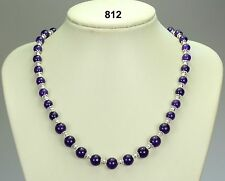 "Russucan amethyst purple stone bead necklace, silver pumpkin spacers 20""+2 chain"