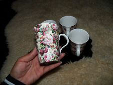 set of 4 crown trent ltd. roses flowers mugs  made in England