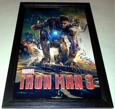 "IRON MAN 3 CAST X3 PP SIGNED & FRAMED 12""X8"" POSTER ROBERT DOWNEY JR"