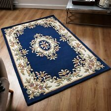 Indian Aubusson Blue Wool Pile Traditional Rugs 160x235cm Chinese Design