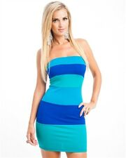 Aqua Wide Stripe Straples color block pencil dress  BLUE/GREEN MINI SZ M